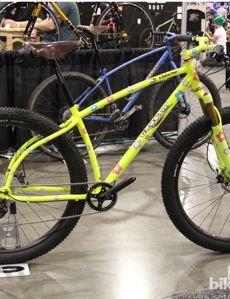 This day-glow 29+ by Groovy Cycleworks was built for a customer with a degenerative eye condition that will leave him legally blind within a few short years