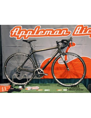 Appleman Bicycles showed off this full-carbon road bike with hand-wrapped joints and its trademark angled seat stay bridge