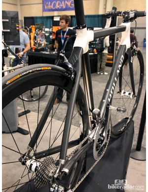 The rear end of Holland Cycles' all-carbon HC looks impressively burly