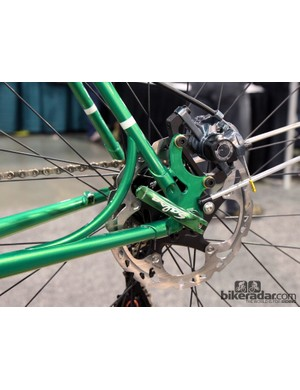 Shamrock Cycles reinforced the rear disc mount with this gracefully curved strut