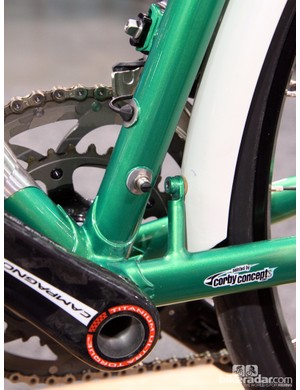 Check out the rear fender mount and remote charge port on this Shamrock Cycles Fluid Druid