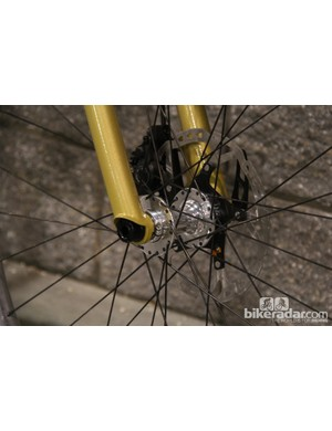 The non-suspension corrected fork uses a Paragon Machine Works 15mm thru axle system