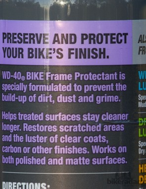 WD-40 Bike Frame Protectant isn't too different from car polish - however you won't find this approval list on most car polishes