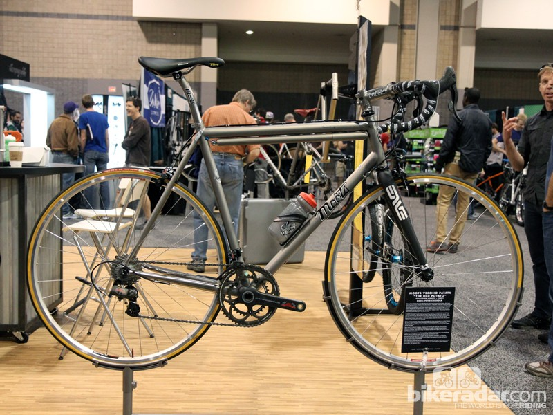 Moots built this special 'retro modern' titanium road bike as a present for the one-and-only Peter Chisholm, who recently retired from legendary shop Vecchio's Bicicletteria in Boulder, Colorado