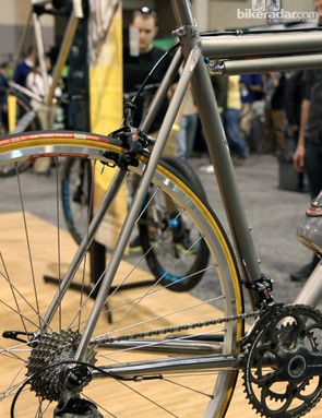 Classic lines on Moots' special road bike for Peter Chisholm of Vecchio's Bicicletteria