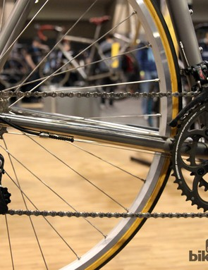 The polished titanium sections are analogous to when steel bikes were chromed to guard against chain slap