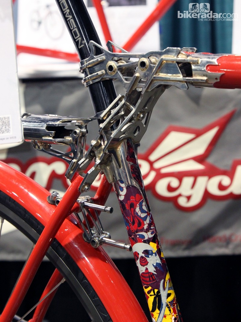 The incredible trussed seat cluster on Sunrise Cycles' steel fixie. All of the bits are custom made