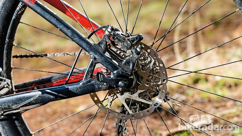 There are properly-sized Shimano 180mm rotors front and back