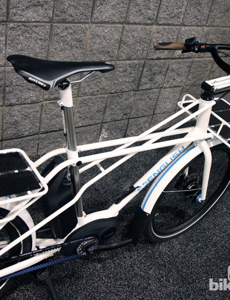 The heavily reinforced frame looks reassuringly solid. Total bike weight was around 62lb