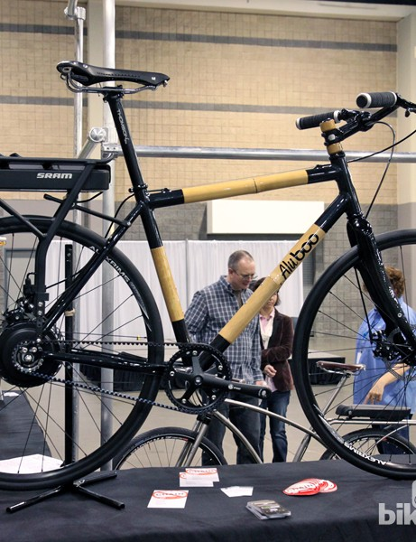 AluBoo showed up with this bamboo-and-aluminum townie retrofitted with SRAM's e-bike system