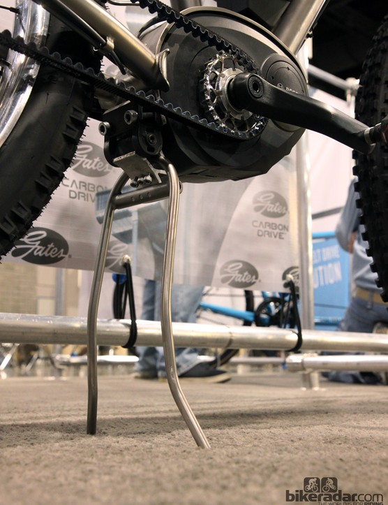 Not content to use a standard tripod kickstand, Eriksen built his own - from titanium, of course