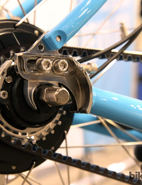 Beautiful polished stainless steel dropouts on Co-Motion's Bosch-powered road tandem