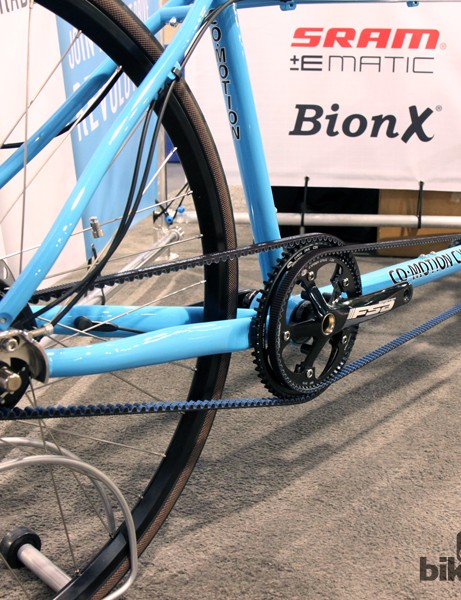 Dual Gates Center Track belts, a Bosch motor system and an internally geared NuVinci rear hub for this Co-Motion tandem