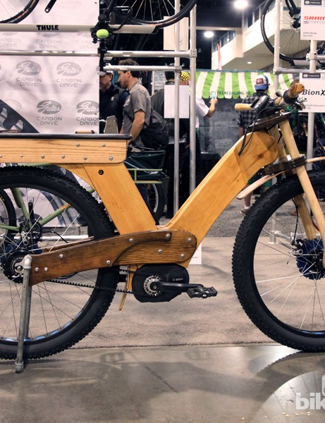 Calfee showed this wooden moto-style 29+ bike for the Gates display