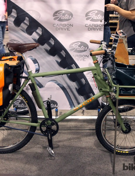 Sycip arrived at the Gates display with its usual hyper-creative brush. This cargo bike can not only deliver the goods, but can cook them upon arrival, too