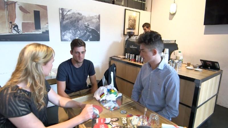 Katherine Bates and Australian Cyclingnews editor Zeb Woodpower talk with World Champion Luke Davison