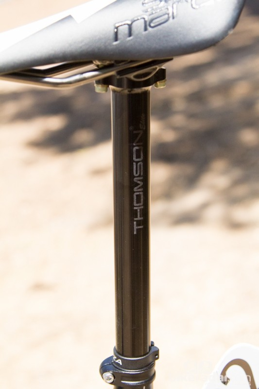 An inline Thomson Elite seatpost is needed to help Hansen get forward of his long 180mm crank arms. As Thomson is not a team sponsor, the graphics were mostly concealed