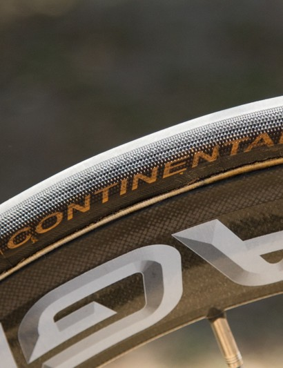 Continental Pro Limited 23c tyres are glued to the 50mm deep Campagnolo Bora Ultra wheels