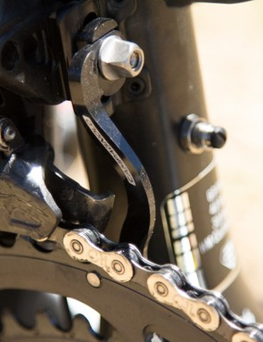A Campagnolo chain catcher ensures there's no dropped chain