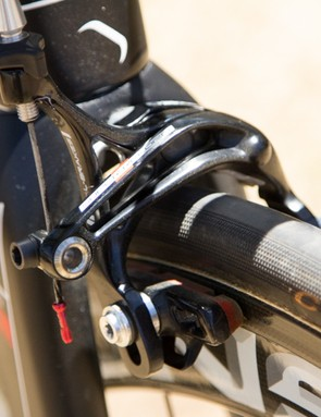 Unlike the integrated brakes on the Ridley Noah Fast, the Helium SL uses standard centre-mount brakes, in this case Super Record