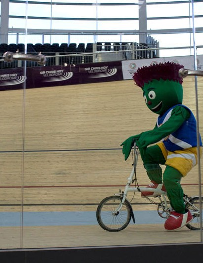 That's someone dressed as a thistle riding a bike at last year's Scottish Bike Show