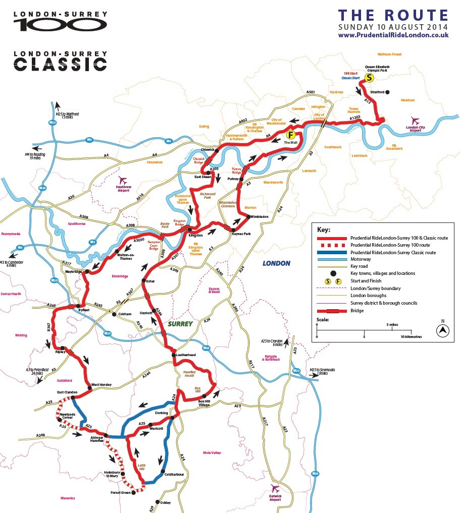 Ridelondon 100 Map