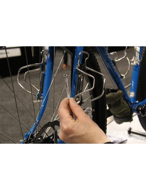 The water-bottle mounting plates are brazed onto the fork legs