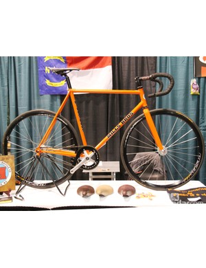 David Mills, of Mills Brothers Bicycle Co., had this orange track racer on display