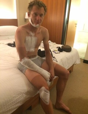 Matti Breschel (Tinkoff-Saxo Bank) after being hit by a mattress while at the Tour of Oman