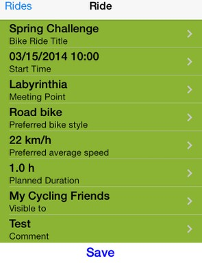 The Joincycling app carries basic data about the ride