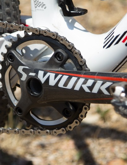 Specialized S-Works OS carbon cranks and a XX1 34T chainring are sure to reduce weight