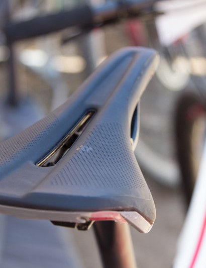 Blair is riding on a prototype Specialized saddle. We believe it's the soon-to-be-released S-Works Phenon