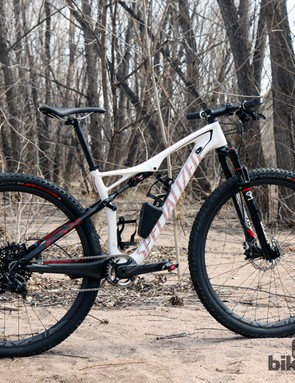 The Specialized Epic Expert Carbon World Cup features a particularly aggressive geometry that's purpose-built for cross-country racing