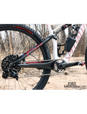 The humongous carbon fibre chainstays are designed for use exclusively with 1x drivetrains