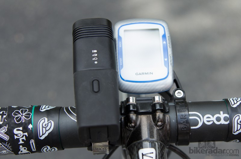 When used with a BarFly mounted Garmin, the ARC 5.5 creates a crowded cockpit