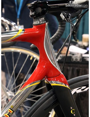 It's tough to see in a picture but that isn't just a line in the paint on the head tube - it actually follows a raised step on the tube