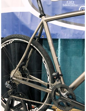Gracefully bent seat stays and subtle graphics on this DeSalvo titanium gravel grinder