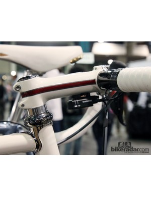 Ritchey's WCS stem takes on a whole new look when painted to match like this. The Shimano Dura-Ace Di2 junction box is simply glued to the underside for a clean look