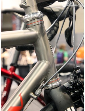 The externally machined head tube on this Engin fat-tire road bike is both functional and beautiful