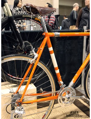Long-reach dual-pivot calipers, lots of tire clearance, S&S couplers, and classic lines on this steel road bike from Victoria Cycles