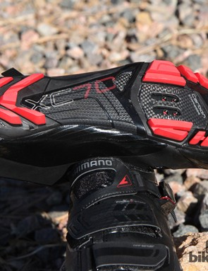 Whereas the Shimano SH-XC90 shoes get a full-length carbon fibre midsole, the XC70 uses a carbon reinforced nylon piece that's further beefed up with a carbon fibre plate beneath the cleat area
