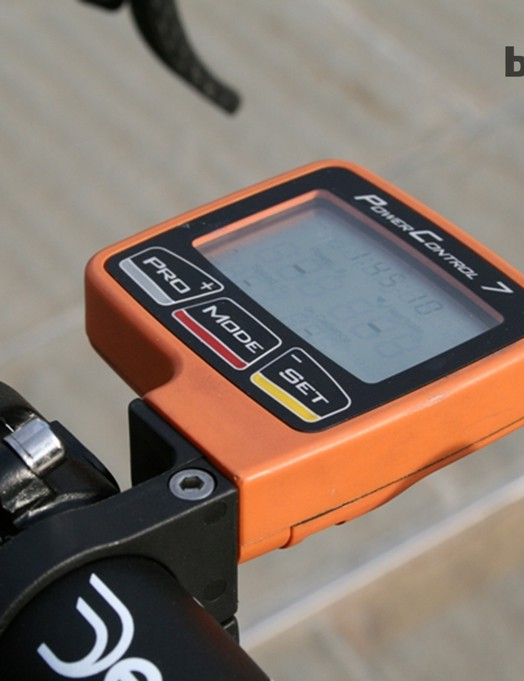 Trott's SRM PC7 head unit is fitted to her race bike, but the cranks are on her training rig