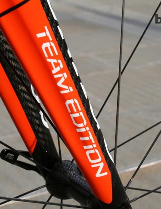 The Wiggle-Honda bikes make liberal use of the team's bright orange colour scheme