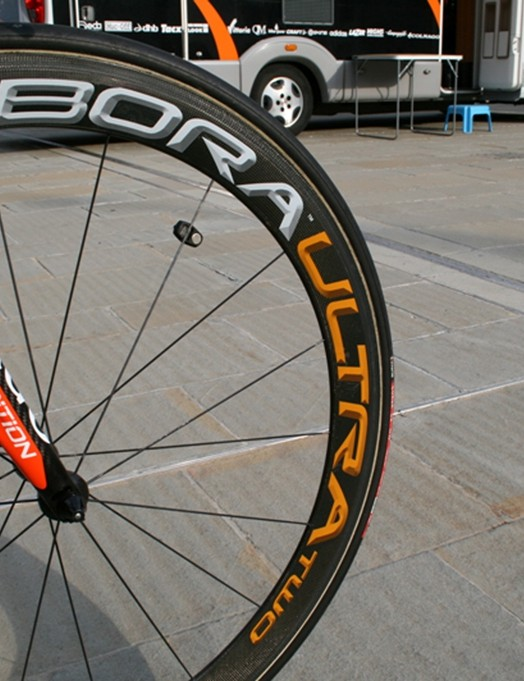 Wheels are Campagnolo Bora Ultra 2 tubulars fitted with 23mm Vittoria Corsa CX tubulars