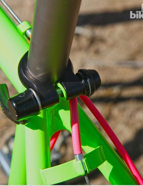 A brazed-on bit keeps the quick-release seatpost collar in place. Later Fat City Cycles frames upgraded to more weather-resistant collars with integrated upper lip seals