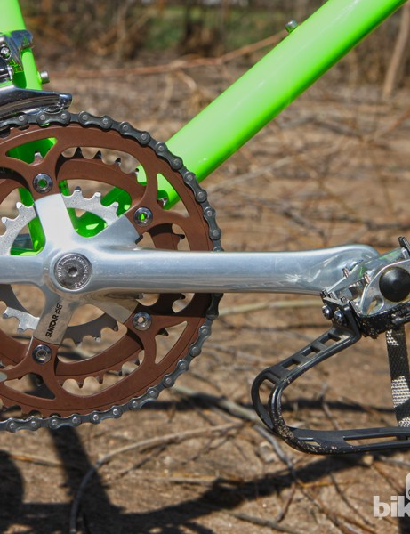 The Suntour XC Pro forged aluminum crankarms wore a gorgeous polished finish and then-typical 26/36/46T chainrings