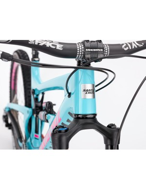 The Nomad has partial internal cable routing through ports on the sides of the head tube