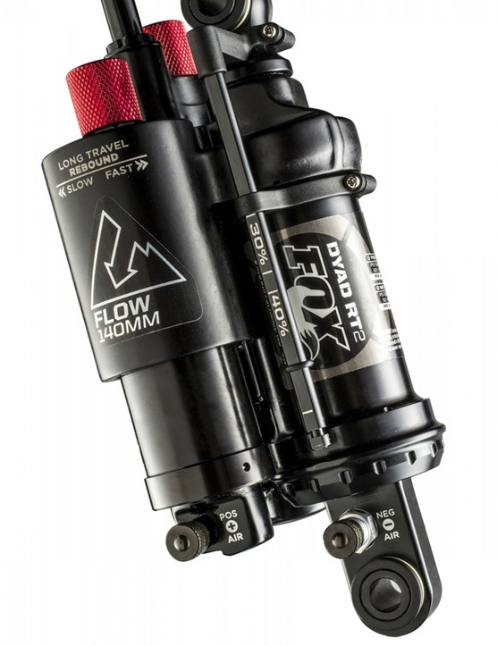 The unique twin-chamber Fox DYAD shock has independently adjustable travel, with long 'Flow' and short 'Elevate' modes both being adjusted separately