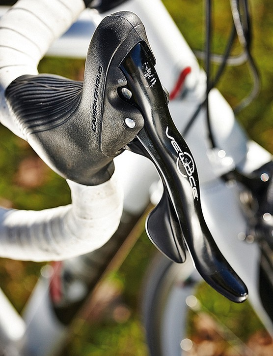 Campagnolo levers have a firmer feel than their Shimano counterparts…