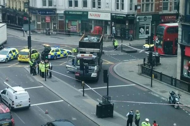 The scene at Ludgate Circus in Central London this morning